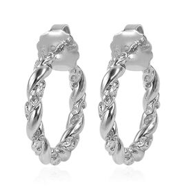 RACHEL GALLEY Rhodium Plated Sterling Silver Lattice Twisted Hoop Earrings (with Push Back), Silver