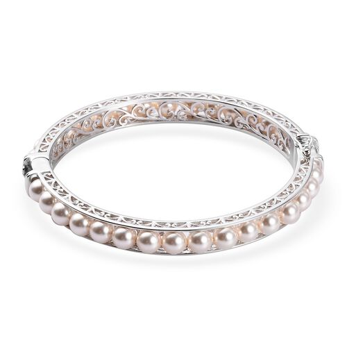 J Francis Crystal from Swarovski White Pearl Crystal Ball Bangle (Size 7.5) with Magnetic Clasp Lock