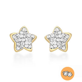 Children Simulated Diamond Star Stud Earrings in 9K Gold