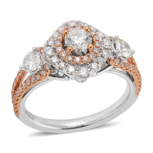 New York Close Out-14K Rose and White Gold Diamond (Rnd 0.25 Cts) ( I1 to I2/G-H) Ring 1.248 Ct.Gold