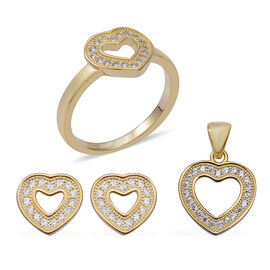 ELANZA 3 Piece Set Heart Earrings, Pendant and Ring in Gold Plated Sterling Silver 6.69 Grams