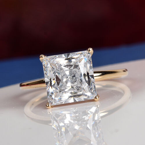 J Francis - 9K Yellow Gold Solitaire Ring Made with SWAROVSKI ZIRCONIA 3.00 Ct.