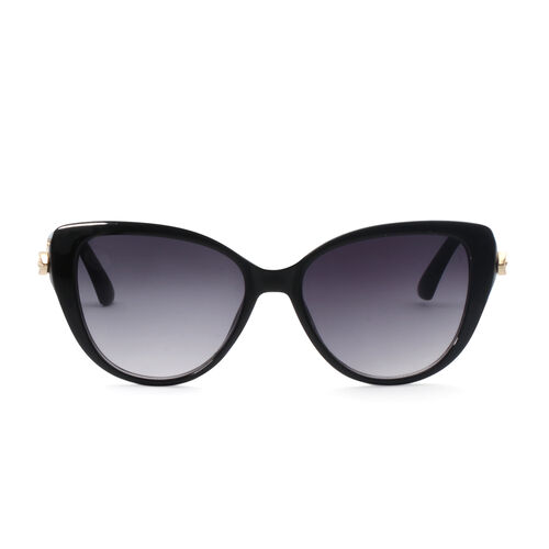 Designer Inspired Butterfly Style Sunglasses - Black and Gold