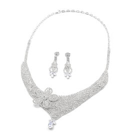 2 Piece Set White Austrian Crystal and Simulated Diamond Earrings (with Push Back) and Necklace (Siz