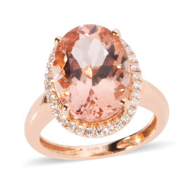 ILIANA 5.25 Ct AAA Morganite and Diamond Halo Ring in 18K Rose Gold 3.25 Grams SI GH