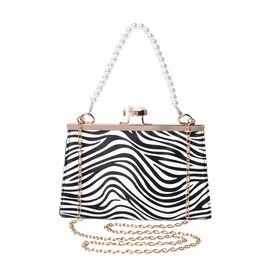 Boutique Inspired- Zebra Pattern Clutch Closure Crossbody Bag with Dangling Pearl Chain and Metallic