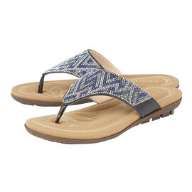 Lotus Patti Flat Toe-Post Sandals in Blue Colour