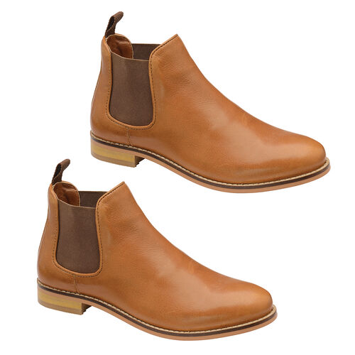 Ravel Tan Graven Leather Slip-On Ankle Boots