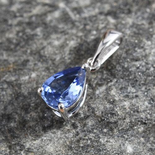 9K White Gold Royal Ceylon Sapphire (Pear) Pendant 0.700 Ct.