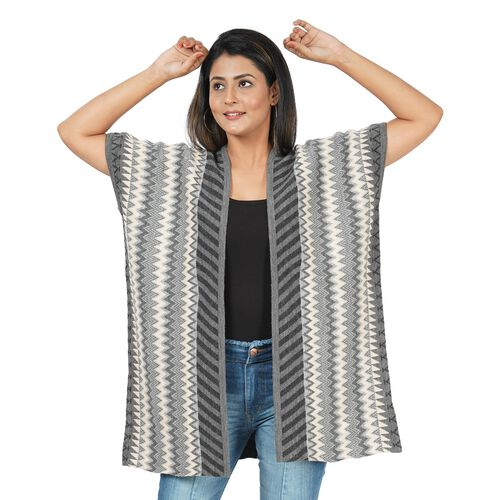 Chevron and Stripe Print Knit Duster Kimono (L: 89cm, W: 71cm) - Grey and Black