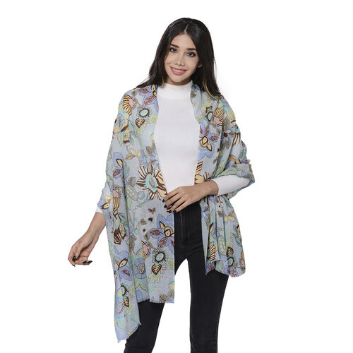 100% Merino Wool Floral Pattern Scarf (Size 65x180cm) - Light Blue and Multi Colour