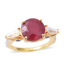 6.75 Ct African Ruby and Multi Gemstone Ring in Gold plated Silver