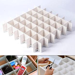 Set of 12 DIY Plastic Grid Drawer Dividers {Size 36.5X7cm (14.37X2.76 inch) } - White