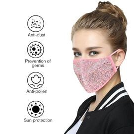 Reusable Fashion Face Covering with Aurora Borealis Rhinestones Crystals - Pink