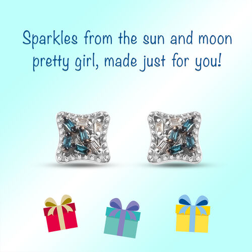 Blue and White Diamond Earrings for Kids in Sterling Silver
