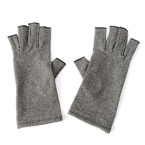 Compression Gloves with PVC Grip and Open Finger  (Size L 21x8 Cm)