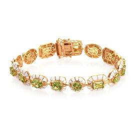 Hebei Peridot Bracelet (Size 8) in 14K Gold Overlay Sterling Silver 14.50 Ct, Silver wt 20.00 Gms