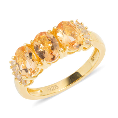 Extremely Rare-Imperial Topaz (Ovl), Natural Cambodian White Zircon Trilogy Ring in Gold Overlay Ste