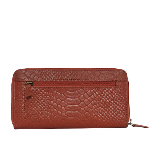 Assots London HAZEL Python Embossed Genuine Leather RFID Zip Around Purse (Size 20x2x10 Cm) - Red