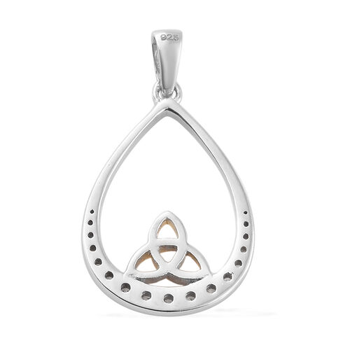 J Francis Yellow Gold and Platinum Overlay Sterling Silver (Rnd) Celtic Knot Pendant Made with SWAROVSKI ZIRCONIA