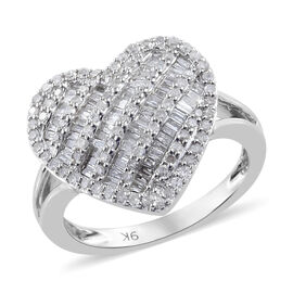 9K White Gold SGL Certified Diamond (Rnd) (13/G -H) Heart Ring  0.750 Ct.