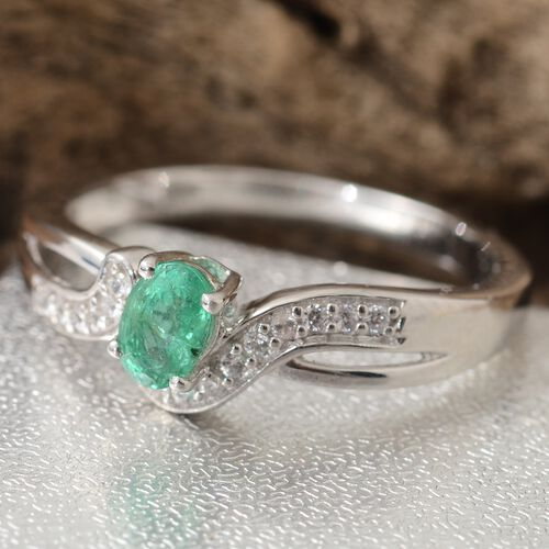 Show Stopper -Premium Santa Terezinha Emerald (Ovl), Natural Cambodian Zircon Ring in Platinum Overlay Sterling Silver 0.500 Ct.
