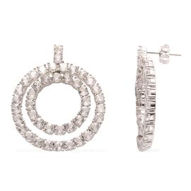 White Topaz (Rnd) Earrings in Platinum Overlay Sterling Silver 10.970  Ct. Silver Wt. 10.50 Gms