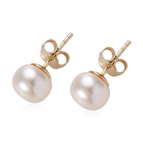 9K Yellow Gold Freshwater Pearl (Rnd) Stud Earrings (with Push Back)