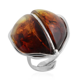 Baltic Amber Adjustable Ring in Sterling Silver, Silver wt 9.50 Gms