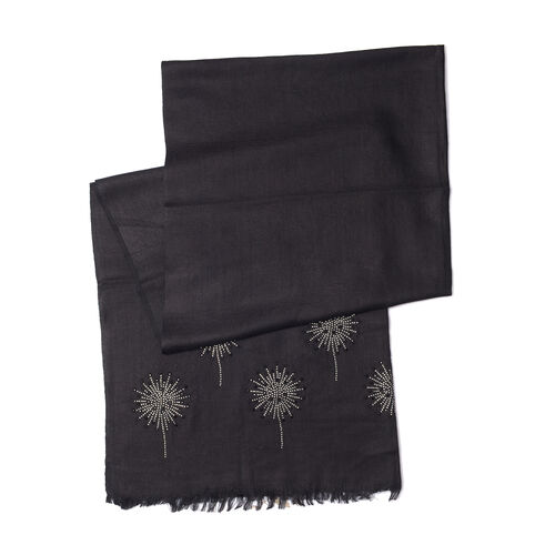 Black Colour New Zealand Super Fine Merino Wool and Silk Scarf with Crystal embellishment (Size 190x70 Cm)