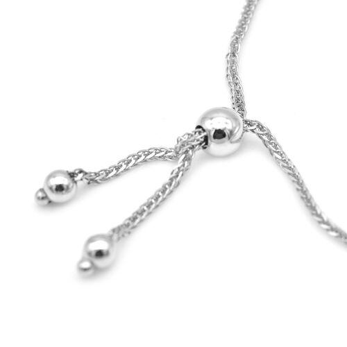 9CT White Gold Bar, Adjustable Bracelet, Size 9.5 Inch