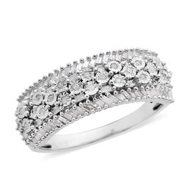 Natural White Diamond (Rnd and Bgt) Ring in Platinum Overlay Sterling Silver 0.500 Ct.