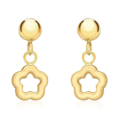 9K Yellow Gold Flower Drop Earrings (with Push Back)