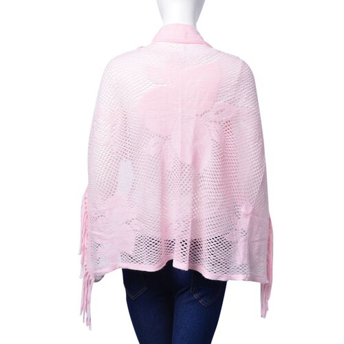 Pink Colour Floral Pattern Scarf with Tassels and Red Colour Poncho with Tassels (Free Size)