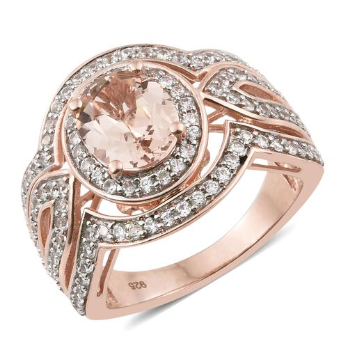 Very Rare Size Marropino Morganite (Ovl 10x8 mm), Natural Cambodian Zircon Ring in Rose Gold Overlay
