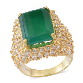 Verde Onyx (Oct 13.25 Ct), Natural White Cambodian Zircon Ring in 14K Gold Overlay Sterling Silver 2