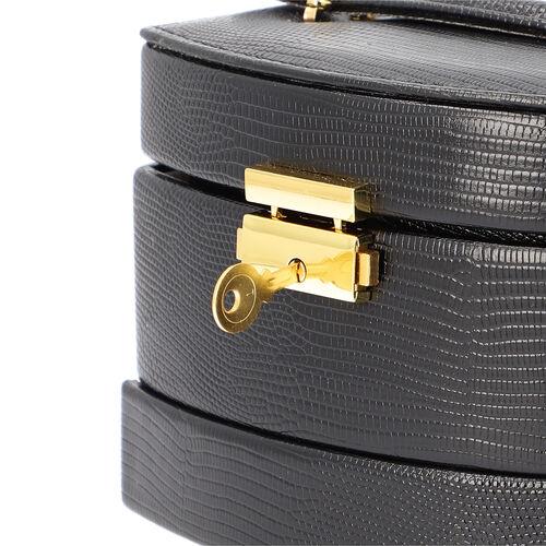Grace Collection - Lizard Skin Pattern Three Layer  Anti-Tarnish Jewellery Storage Box with Lock & Key, Inside Mirror and Velvet Lining (Size 15x12x12cm) - Black