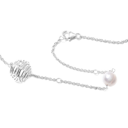 Isabella Liu Sea Rhyme Collection - Freshwater White Pearl and White Mother of Pearl Station Necklace (Size 32) in Rhodium Overlay Sterling Silver
