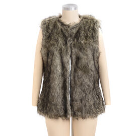 Close Out Deal Luxe Super Soft Helson Faux Fur Khaki and Black Colour Gilet (Size 16-18 )