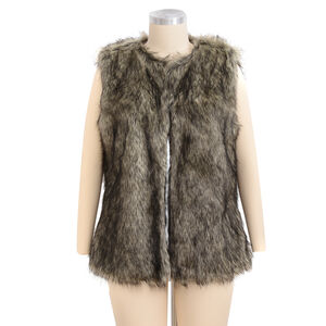'Close Out Deal Luxe Super Soft Helson Faux Fur Khaki And Black Colour Gilet (size 16-18 )