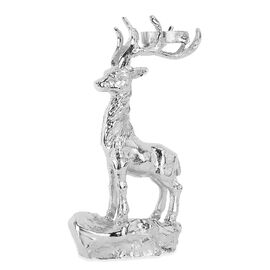Reindeer on Rock with Candle Holder in Silver Tone made with Cast Aluminum (Size 32x20x11 Cm)