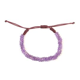 One Time Deal- Amethyst Bead Adjustable Bracelet (Size 6.5-9.5) 30.92 Ct.