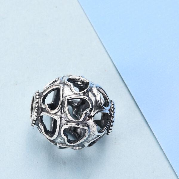 Charmes De Memoire Platinum Overlay Sterling Silver Hearts Design Charm