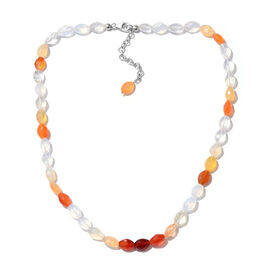 Extremely Rare Fire Opal Bead Necklace Size 18 in Silver 85.50 Ct