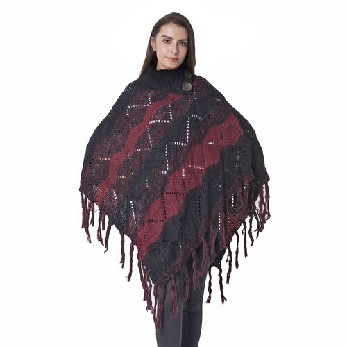 Collar with Two Decorative Button Wave Pattern Poncho with Tassels (Size 85x60 Cm) Colour Red and Bl
