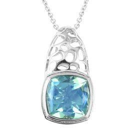 RACHEL GALLEY  10.88 Ct Peacock Quartz Solitaire Pendant With Chain in Silver 11.46 Grams