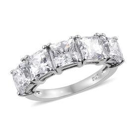 J Francis - Platinum Overlay Sterling Silver (Princess Cut) Ring Made With SWAROVSKI ZIRCONIA