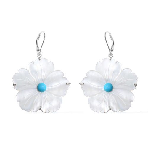 Designer Inspired-Arizona Sleeping Beauty Turquoise and Mother of Pearl Fleur Earrings (with Back Lever) in Sterling Silver 29.410 Ct.