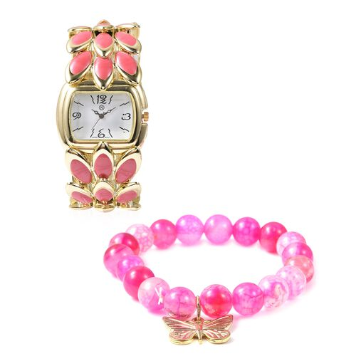 2 Piece Set - STRADA Japanese Movement Water Resistant Bracelet Watch and Fuschia Agate Stretchable