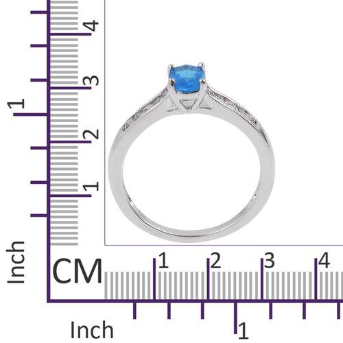 Very Rare Size Malgache Neon Apatite (Ovl 7x5mm), White Topaz Ring in Rhodium Plated Sterling Silver 1.250 Ct.